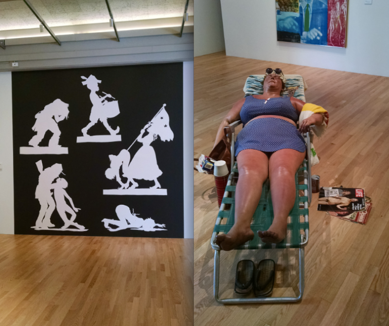 Kara Walker, left, Duane Hanson, right.