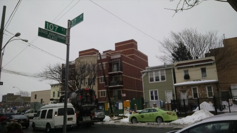 """107 St, renamed Louis Armstrong Place, is the spot that Louis Armstrong chose to settle down in spite of being internationally famous and wealthy.  This is the neighborhood that inspired him to write, """"What a Wonderful World."""""""