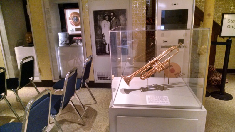This trumpet on display in what used to be the Armstrongs' rec room is gold-plated and a gift from King George V.