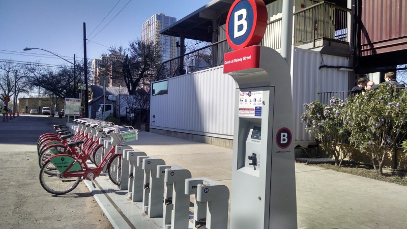 B-cycle station on Rainey Street.