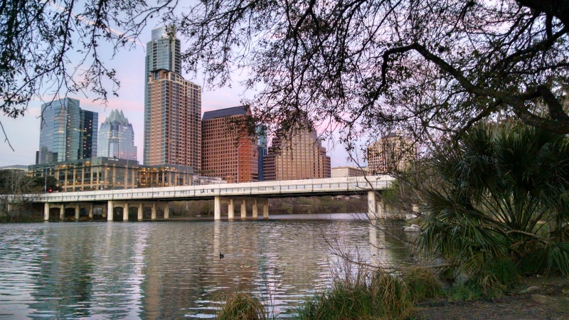 View of downtown from a bike path along the river front.