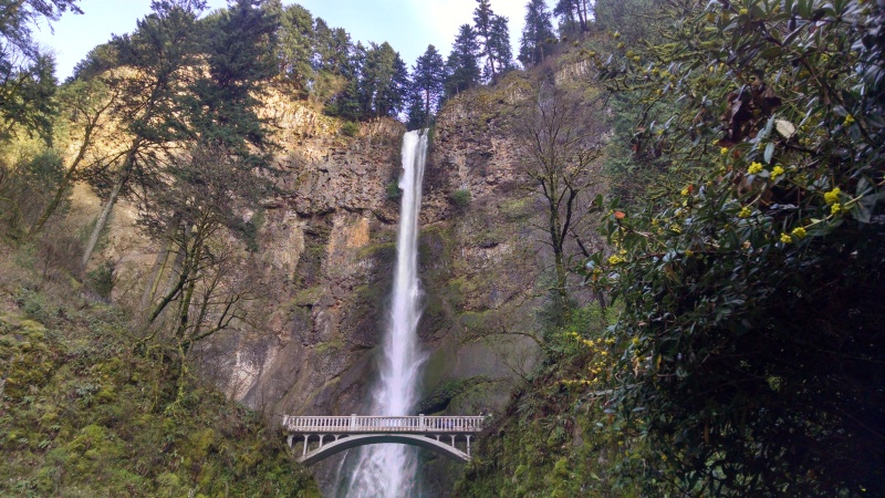 Multnomah Falls from the side of historic US 30.