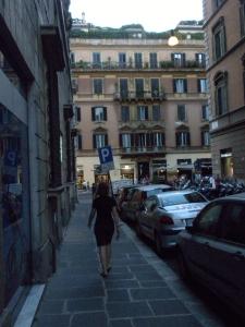 The street outside Hotel Italia, in Rome.