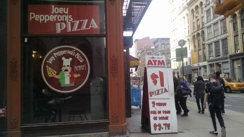 Spur of the moment dining is often a part of my city walks. One dollar pizza — classic NY tradition still going strong.