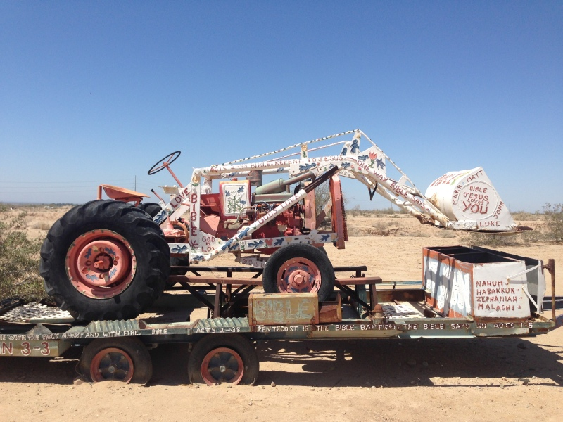A painted tractor near Salvation Mountain.