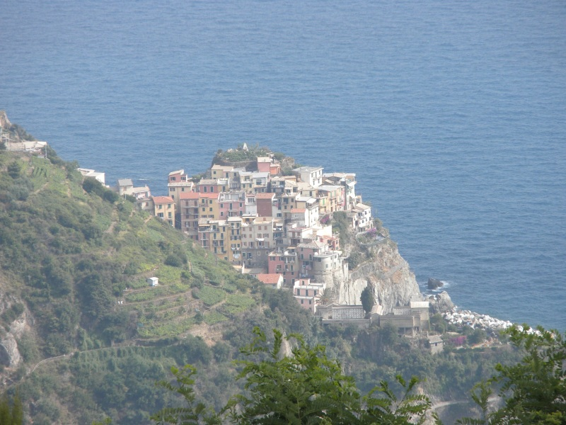 Camera zoomed into the max on Corniglia from the upper trails.