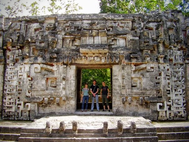 Exploring ancient Maya ruins in Calakmul Mexico with Jim, my sister, and her husband.
