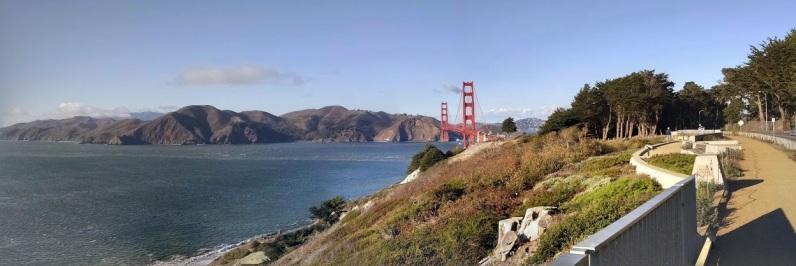 Golden Gate Bridge from the Presidio trail above Baker Beach.