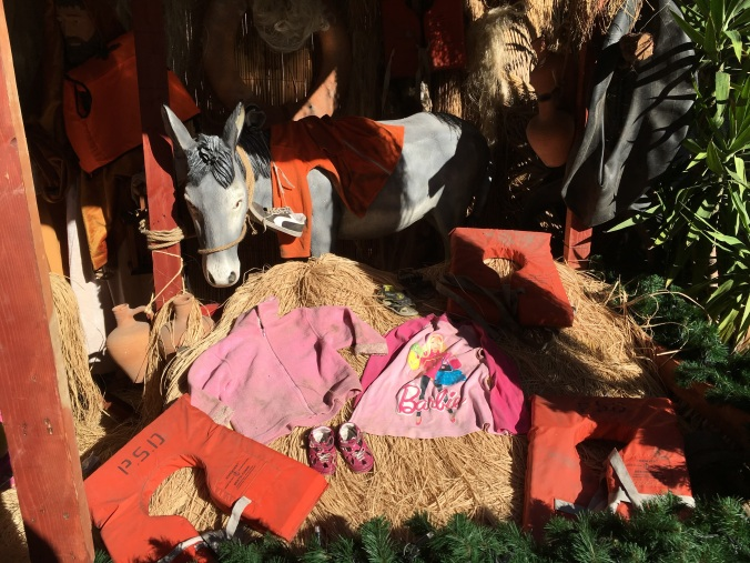 This nativity was adorned with the possessions of refugees